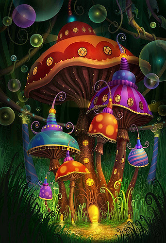 psychedelic mushroom house in mystical land
