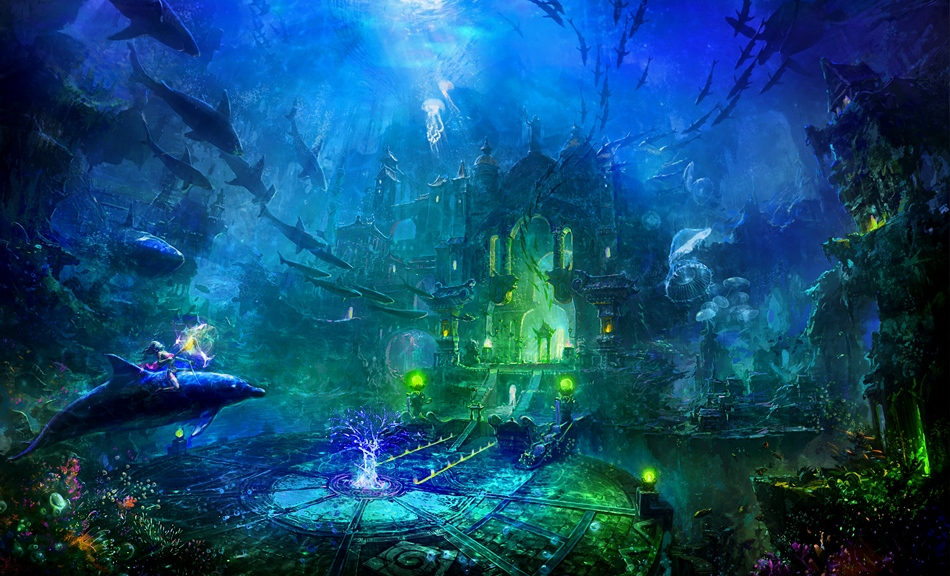 underwater palace with bioluminescence